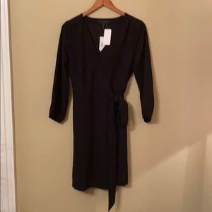 JCrew Black Crepe Wrap Dress. Size 6. Fully Lined.